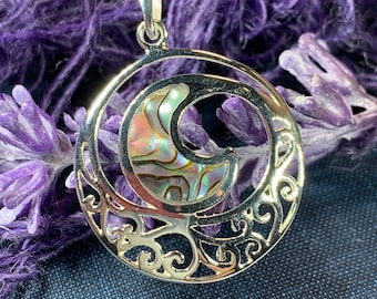 Ocean Wave Necklace, Celtic Jewelry, Celtic Knot Jewelry, Abalone Jewelry, Retirement Gift, Sea Jewelry, Nautical Jewelry, Beach Jewelry
