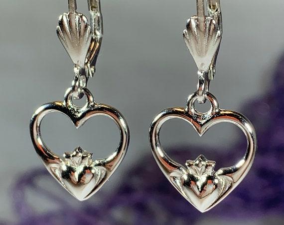Claddagh Earrings, Celtic Jewelry, Irish Jewelry, Friendship Gift, Heart Jewelry, Anniversary Gift, Wife Gift, Bride Gift, Ireland Jewelry
