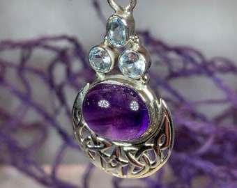 Moon Necklace, Celtic Knot Jewelry, Celtic Jewelry, Anniversary Gift, Viking Jewelry, Pagan Necklace, Celestial Jewelry, Amethyst Jewelry