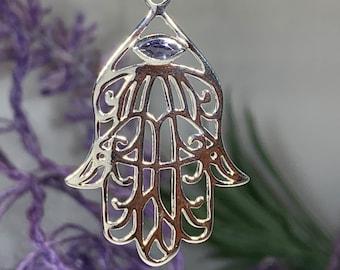 Hamsa Hand Necklace, Celtic Jewelry, Evil Eye Jewelry, Wiccan Jewelry, Celtic Knot Jewelry, Protection Jewelry, Hand Jewelry, Yoga Jewelry