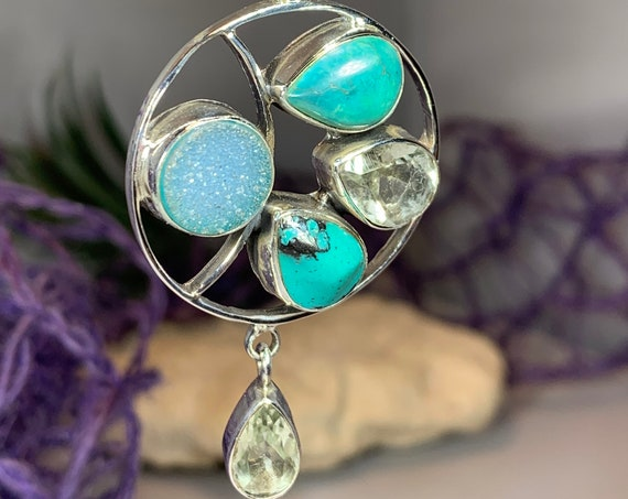 Turquoise Moon Necklace, Gemstone Pendant, Celestial Jewelry, Celtic Jewelry, Anniversary Gift, Wiccan Jewelry, Pagan Necklace, Mystic Topaz