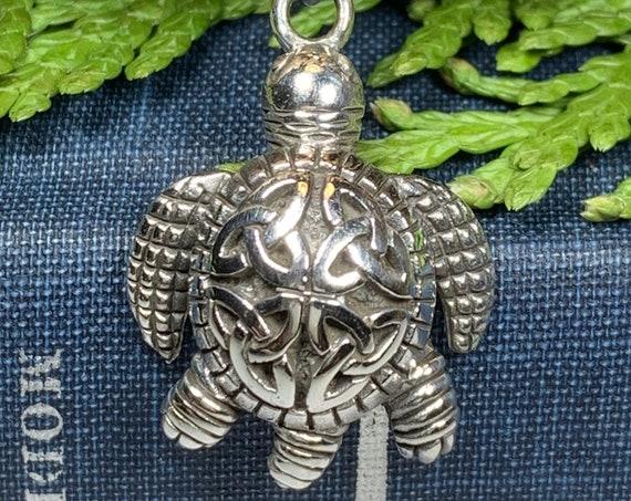 Turtle Necklace, Celtic Jewelry, Nautical Jewelry, Trinity Knot Pendant, Animal Jewelry, Irish Jewelry, Ireland Gift, Anniversary Gift