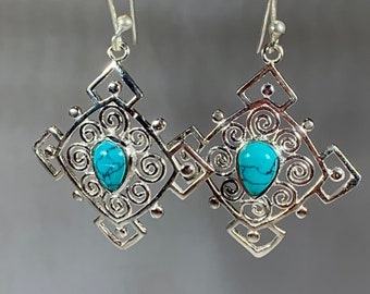 Celtic Spiral Earrings, Celtic Jewelry, Turquoise Jewelry, Wiccan Jewelry, Norse Jewelry, Irish Jewelry, Scotland Jewelry, Gift for Her