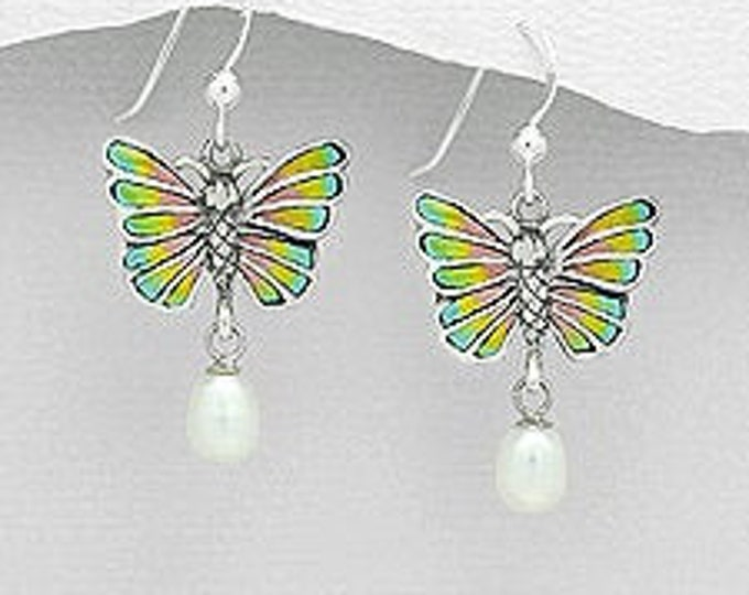 Butterfly Earrings, Nature Jewelry, Pearl Earrings, Bridal Jewelry, Birthday, Gift for Her, Anniversary Gift, Survivor Gift, Sweet 16 Gift