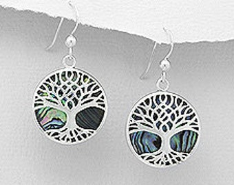 Tree of Life Earrings, Celtic Jewelry, Irish Jewelry, Norse Jewelry, Wiccan Jewelry, Tree Jewelry, Abalone Shell Jewelry, Scotland Jewelry