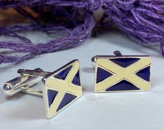 Scotland Flag Cuff Links, Scotland Jewelry, Celtic Jewelry, Saltire Jewelry , Bagpiper Gift, Groom Gift, Boyfriend Gift, Husband Gift