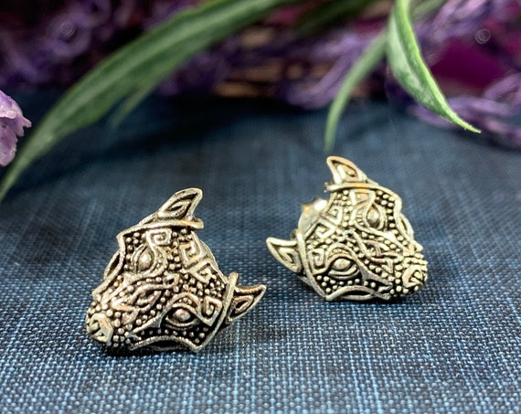 Wolf Earrings, Celtic Jewelry, Norse Jewelry, Pagan Jewelry, Viking Jewelry, Celtic Knot Earrings, Graduation Gift, Wolf Jewelry, Mom Gift