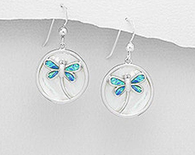 Dragonfly Earrings, Nature Jewelry, Opal Jewelry, Mom Gift, Sister Gift, Cancer Survivor Gift, Inspirational Gift, Anniversary Gift