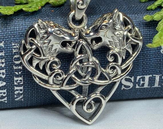 Wolf Necklace, Celtic Jewelry, Irish Jewelry, Norse Jewelry, Viking Jewelry, Celtic Knot Jewelry, Heart Pendant, Trinity Knot Jewelry