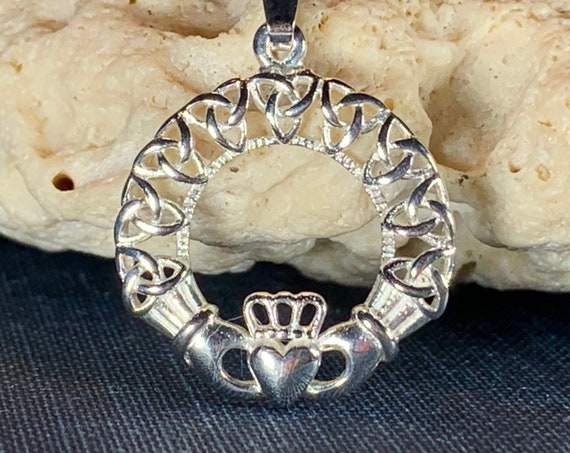 Claddagh Necklace, Celtic Jewelry, Irish Jewelry, Celtic Knot Jewelry, Mom Gift, Anniversary Gift, Graduation Gift, Trinity Knot Jewelry