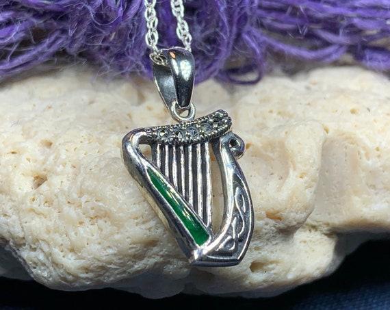 Harp Necklace, Celtic Jewelry, Irish Jewelry, Irish Dance Gift, Mom Gift, Musician Gift, Ireland Gift, Sister Gift, Wife Gift