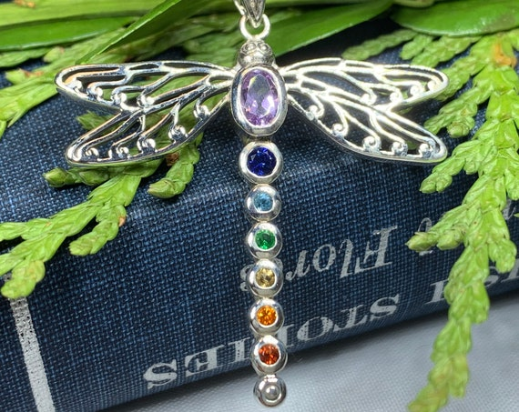 Dragonfly Necklace, Nature Necklace, Chakra Jewelry, Nature Jewelry, Memorial Jewelry, Outlander Jewelry, Rainbow Jewelry, Anniversary Gift