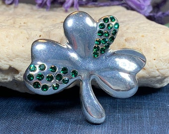 Shamrock Brooch, Clover Pin, Ireland Gift, Celtic Pin, Irish Pin, Coat Pin, Scarf Pin, Mom Gift, Shamrock Brooch, Good Luck Gift