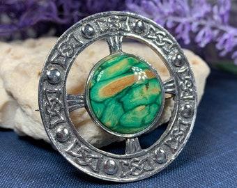 Scottish Heather Brooch, Heather Gem, Celtic Jewelry, Tartan Pin, Scotland Jewelry, Celtic Knot Pin, Wiccan Jewelry, Kilt Pin, Viking Pin