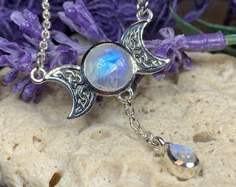 Moon Necklace, Celtic Jewelry, Celestial Jewelry, Crescent Moon, Triple Moon Pendant, Anniversary Gift, Irish Jewelry, Celtic Knot Jewelry