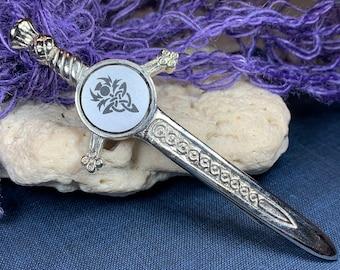 Sword Kilt Pin, Celtic Sword Pin, Scotland Jewelry, Thistle Pin, Trinity Knot Kilt Pin, Kilt Pin, Celtic Jewelry, Groom Gift, Bagpiper Gift