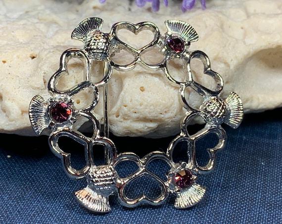 Thistle Brooch, Scotland Jewelry, Celtic Jewelry, Mom Gift, Scarf Pin, Wife Gift, Outlander Jewelry, Flower Jewelry, Heart Brooch