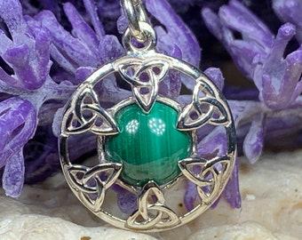 Trinity Knot Necklace, Celtic Necklace, Scotland Jewelry, Irish Jewelry, Triquetra Pendant, Bridal Jewelry, Anniversary Gift, Malachite Gift