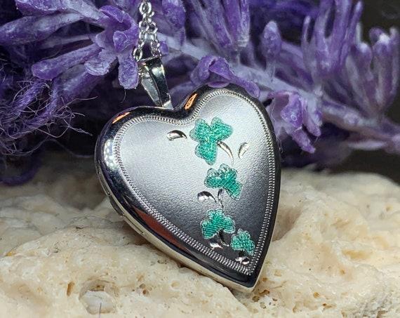Heart Locket Necklace, Heart Pendant, Shamrock Jewelry, Irish Jewelry, Mom Gift, Celtic Jewelry, Anniversary Gift, Bridal Jewelry, Clover