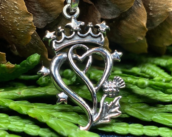 Luckenbooth Necklace, Celtic Jewelry, Scotland Jewelry, Bridal Jewelry, Anniversary Gift, Mom Gift, Heart Pendant, Outlander Jewelry