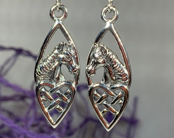 Horse Earrings, Celtic Jewelry, Irish Jewelry, Equestrian Jewelry, Animal Jewelry, Nature Jewelry, Mom Gift, Ireland Jewelry, Heart Jewelry