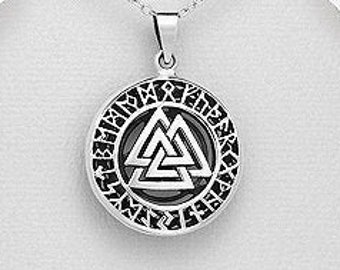 Viking Valknut Necklace, Vegvisir Jewelry, Viking Jewelry, Gift for Him, Norse Jewelry,  Pagan, Viking, Celtic Knot,