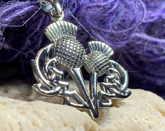 Thistle Necklace, Celtic Jewelry, Scotland Jewelry, Wife Gift, Sister Gift, Outlander Jewelry, Nature Necklace, Celtic Knot Necklace