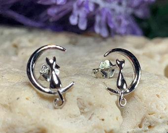 Cat Stud Earrings, Moon Earrings, Celestial Jewelry, Animal Jewelry, Nature Jewelry, Mom Gift, Sister Gift, Moon Earrings, Pagan Jewelry