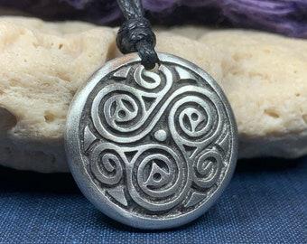 Triple Spiral Necklace, Ireland Gift, Irish Jewelry, Celtic Jewelry, Scotland Necklace, Norse Jewelry, Pewter Jewelry, Triskele Pendant