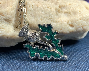 Thistle Necklace, Scotland Jewelry, Thistle Pendant, Outlander Jewelry, Nature Jewelry, Celtic Jewelry, Anniversary Gift, Bridal Jewelry