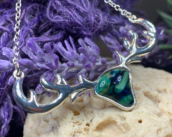 Stag Necklace, Scotland Jewelry, Heather Gem, Celtic Necklace, Nature Jewelry, Outlander Jewelry, Wiccan Necklace, Anniversary Gift