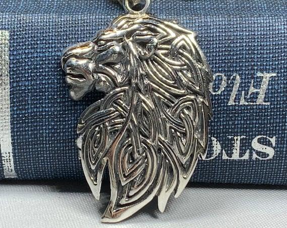 Celtic Lion Necklace, Celtic Jewelry, Irish Jewelry, Lion Jewelry, Animal Jewelry, Celtic Knot Jewelry, Scotland Jewelry, Norse Jewelry