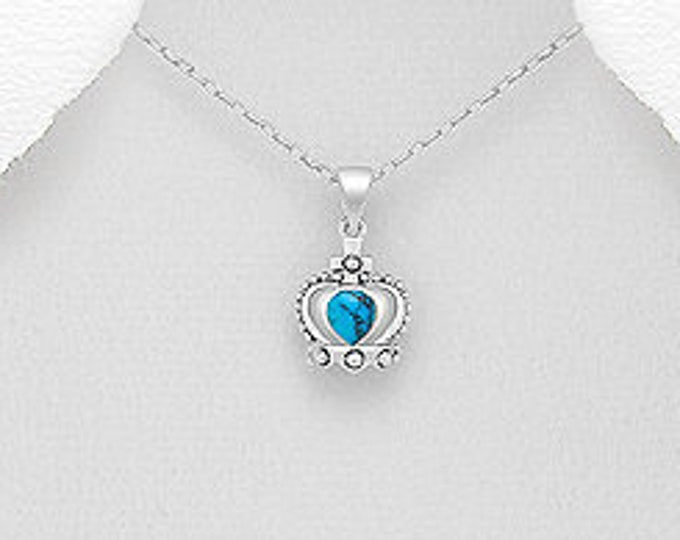 Crown Necklace, Turquoise Jewelry, Royal Crown Pendant, Scotland Jewelry, Outlander Jewelry, Gift for Her, Queen of Hearts, Celtic Jewelry