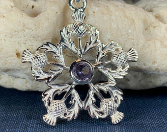 Thistle Necklace, Amethyst Necklace, Scotland Jewelry, Outlander Jewelry, Nature Jewelry, Anniversary Gift, Mom Gift, Friendship Gift