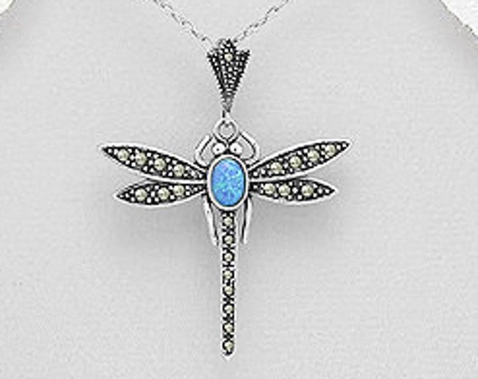 Dragonfly Necklace, Opal Jewelry, Outlander Jewelry, Inspirational Gift, Celtic Jewelry, Gift for Her, Anniversary Gift, Memorial Jewelry,