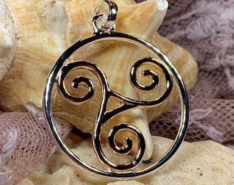 Spiral Necklace, Celtic Jewelry, Irish Jewelry, Triskele Jewelry, Wiccan Jewelry, Anniversary Gift, Pagan Jewelry, Girlfriend Gift, Mom Gift