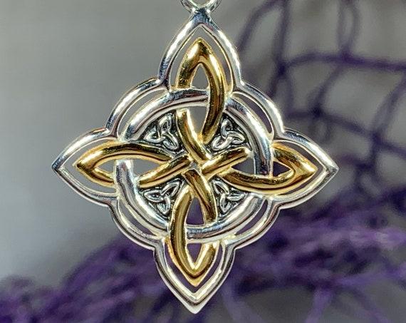 Quaternary Knot Necklace, Celtic Jewelry, Irish Jewelry, Ireland Gift, Celtic Knot Jewelry, Norse Jewelry, Scotland Jewelry, Wiccan Jewelry
