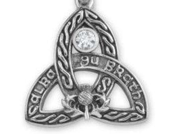 Trinity Knot Celtic Necklace, Triskele, Scottish Pride, Highlands, Outlander Jewelry, Blue Topaz, Thistle, Celtic Necklace, Tartan