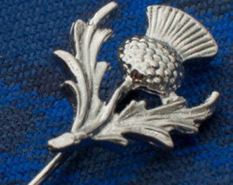 Thistle Stick Pin, Scotland Jewelry, Celtic Pin, Bride Pin, Outlander Jewelry, Groom Gift, Girlfriend Gift, Wedding Jewelry, Tie Tac Pin