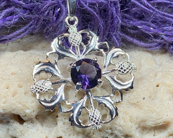 Thistle Necklace, Amethyst Necklace, Scotland Jewelry, Outlander Jewelry, Wife Gift, Friendship Gift, Nature Jewelry, Anniversary Gift