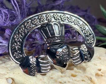 Claddagh Brooch, Celtic Brooch, Irish Jewelry, Clover Jewelry, Shamrock Jewelry, Scarf Pin, Ireland Gift, Claddagh Jewelry, Wife Gift