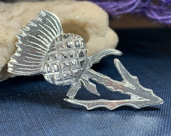 Thistle Brooch, Thistle Pin, Scotland Jewelry, Celtic Pin, Celtic Jewelry, Bridal Jewelry, Outlander Jewelry, Nature Jewelry, Wife Gift