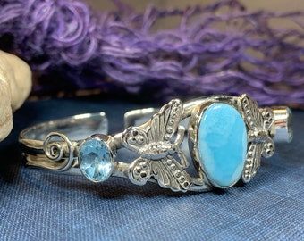 Celtic Butterfly Bracelet, Celtic Jewelry, Butterfly Bangle, Insect Jewelry, Larimar Gift, Wiccan Jewelry, Pagan Jewelry, Anniversary Gift