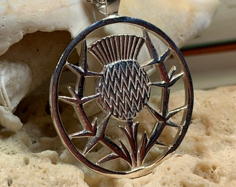 Thistle Necklace, Celtic Jewelry, Scotland Jewelry, Celtic Pendant, Nature Jewelry, Flower Jewelry, Outlander Jewelry, Nature Necklace