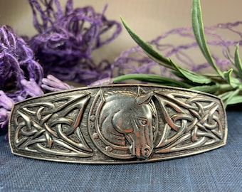 Horse Hair Clip, Celtic Barrette, Horse Jewelry, Pagan Jewelry, Friendship Gift, Wiccan Jewelry, Native American Jewelry, Animal Barrette