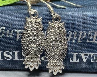 Owl Earrings, Celtic Jewelry, Bird Jewelry, Teacher Gift, Anniversary Gift, Girlfriend Gift, Wife Gift, Wiccan Jewelry, Pagan Jewelry
