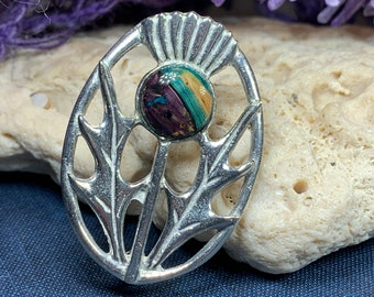 Thistle Brooch, Celtic Pin, Scotland Jewelry, Outlander Jewelry, Mom Gift, Tartan Pin, Wiccan Jewelry, Pagan Jewelry, Nature Jewelry