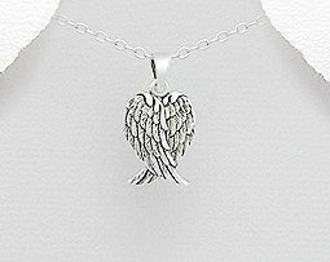 Angel Wings Necklace, Celtic Jewelry, Spiritual Jewelry, Angel Necklace, Wings Necklace, Bridal Jewelry, Memorial Jewelry