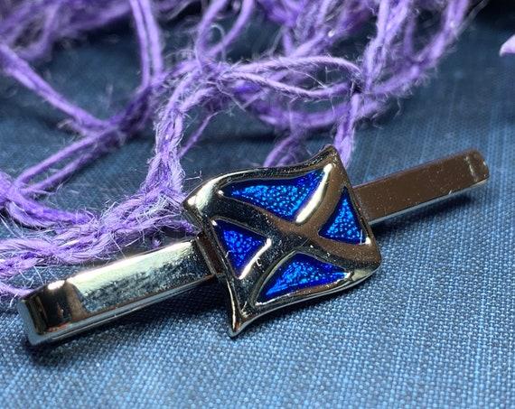 Scotland Flag Tie Bar, Celtic Jewelry, Scotland Gift, Dad Gift, Men's Jewelry, Groom Gift, Best Man Gift, Celtic Tie Clip, Saltire Jewelry