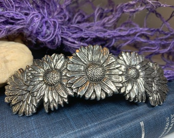 Daisy Hair Clip, Celtic Barrette, Flower Jewelry, Welsh Jewelry, Friendship Gift, Wiccan Jewelry, Wales Jewelry, Nature Barrette
